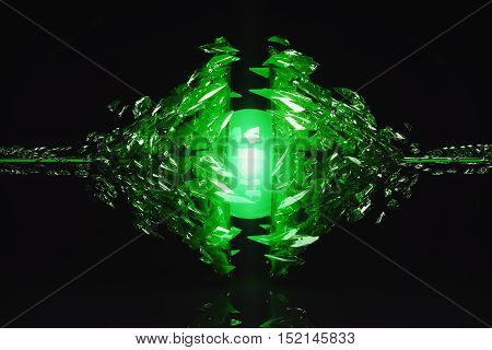 Abstract broken emerald glass figure on dark background with reflection. 3D Rendering