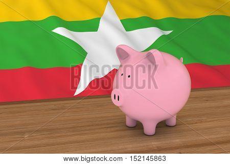 Myanmar Finance Concept - Piggybank In Front Of Burmese Flag 3D Illustration