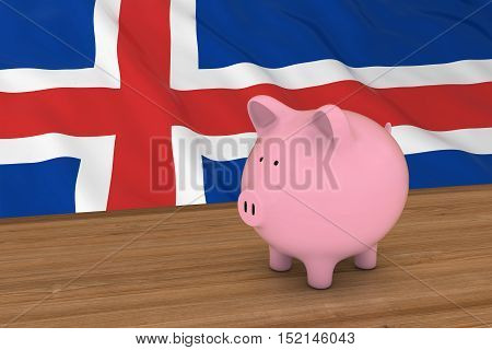Iceland Finance Concept - Piggybank In Front Of Icelandic Flag 3D Illustration
