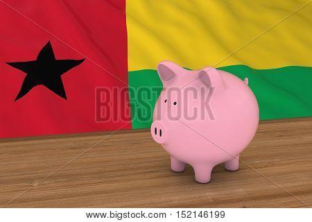 Guinea-bissau Finance Concept - Piggybank In Front Of Bissau-guinean Flag 3D Illustration