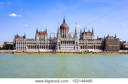 famous Hungarian parliament in Budapest under blue sky