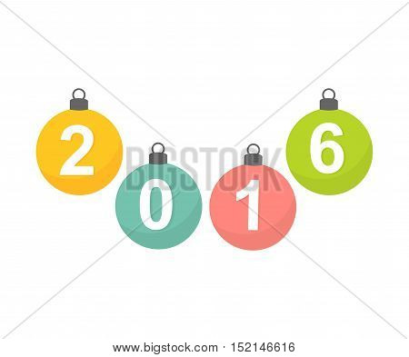 New Year hanging baubles 2016 ornaments background illustration