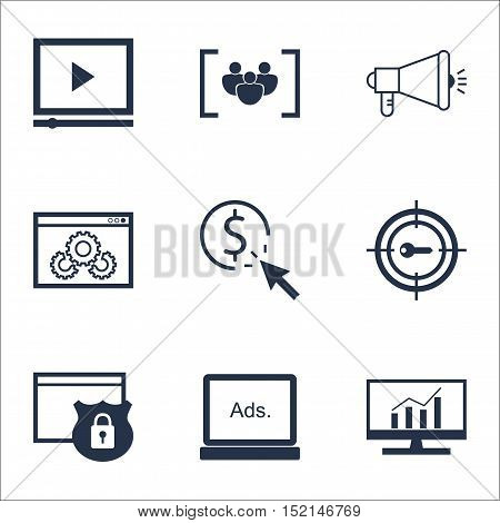 Set Of Seo Icons On Digital Media, Market Research And Ppc Topics. Editable Vector Illustration. Inc