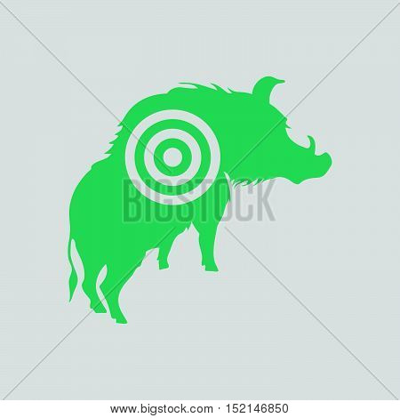 Boar Silhouette With Target Icon