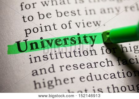 Fake Dictionary definition of the word university.