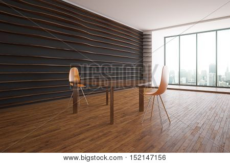 Creative dark interior with wooden floor patterned walls windows with city view and table with modern chairs. Side view 3D Rendering