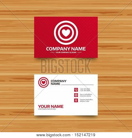 Business card template. Target aim sign icon. Darts board symbol with heart in the center. Phone, globe and pointer icons. Visiting card design. Vector