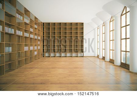 Library interior with empty wooden shelves floor concrete walls ceiling columns and windows with city view. 3D Rendering