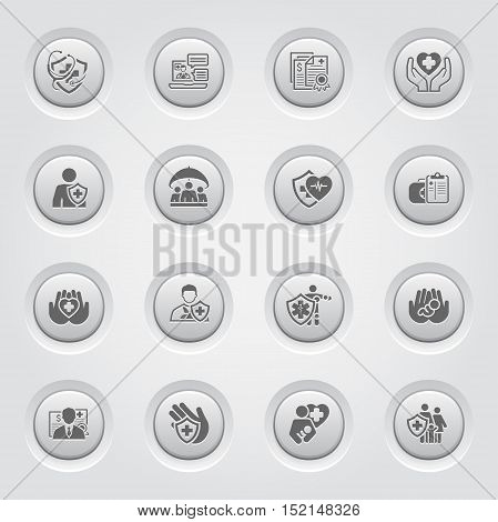 Insurance and Medical Services Icons Set. Button Design. Isolated Illustration. Life and Health Insuranse Symbol. Personal and Group Life Insurance Symbol. Life and Heart Care Symbol.