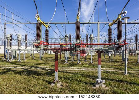 KRIFTEL GERMANY - JUNE 20 2011: transformer for wind energy at a power plant station