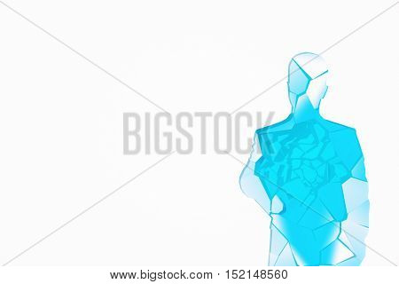 Abstract shattered blue glass human figure on white background with copy space. 3D Rendering