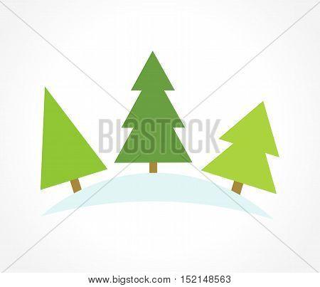 Three Christmas trees. Symbolic icon graphic illustration