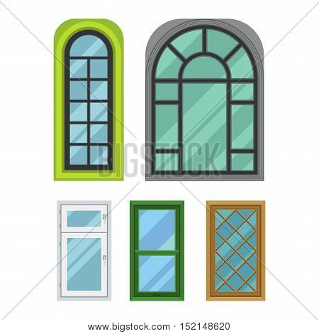 Different types house windows vector elements isolated on white background. Windows elements flat vector style. Vector windows frames. Windows isolated on white