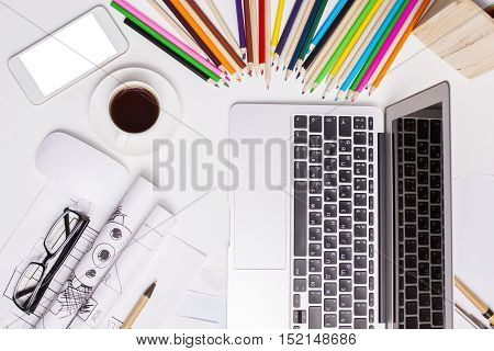 Supplies, Laptop And White Smartphone