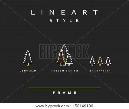 Tree emblem in linear style. Christmas Tree Elegant emblem design illustration. Tree icon, logo. Christmas decorations design element