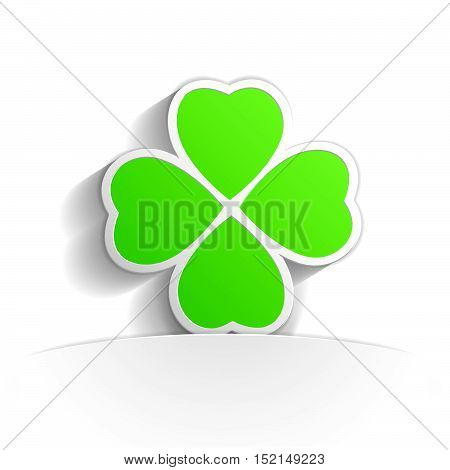 four leaf clover in paper icon style full vector