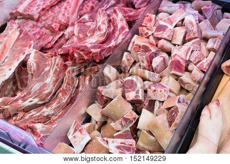 pork ribs in Butcher's Shop close up