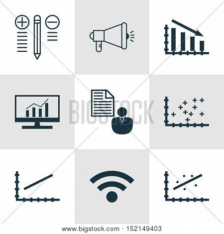 Set Of 9 Universal Editable Icons For Computer Hardware, Marketing And Statistics Topics. Includes I