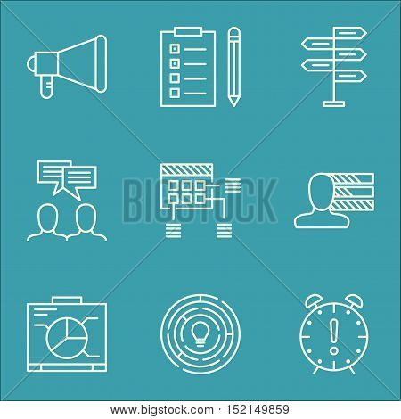 Set Of Project Management Icons On Personal Skills, Announcement And Board Topics. Editable Vector I