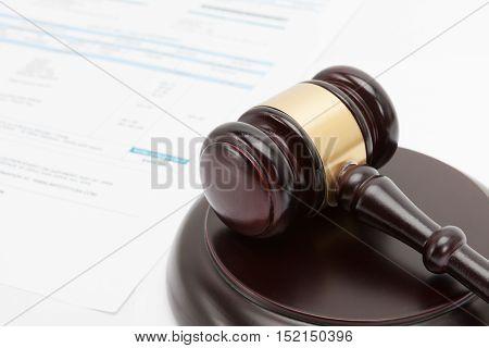 Wooden Judge Gavel With Unpaid Bill Under It Series