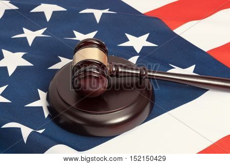 Judge Gavel And Soundboard Laying Over Usa Flag
