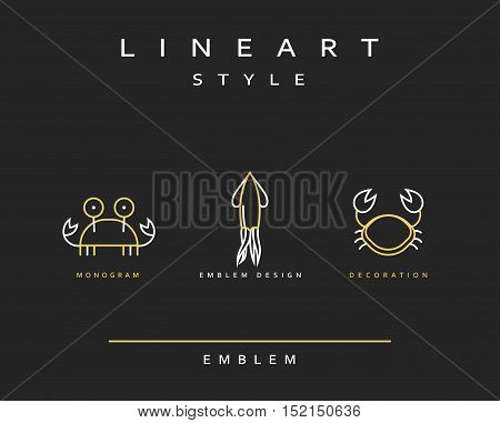 Marine life set emblem in linear style. Seafood Elegant emblem design illustration. Marine life icon, Seafood logo decorations design element