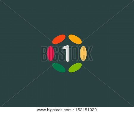 Color number 1 logo icon vector design. Hub frame numeral logotype