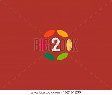 Color number 2 logo icon vector design. Hub frame numeral logotype