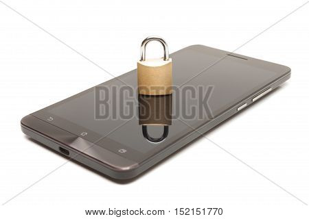 Smartphone With Small Lock Over It - Mobile Phone Security And Data Protection Concept