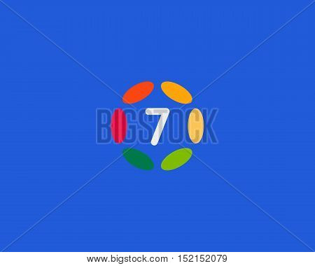 Color number 7 logo icon vector design. Hub frame numeral logotype
