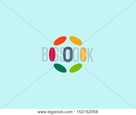 Color number 0 logo icon vector design. Hub frame numeral logotype