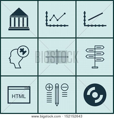 Set Of 9 Universal Editable Icons For Seo, Education And Statistics Topics. Includes Icons Such As D