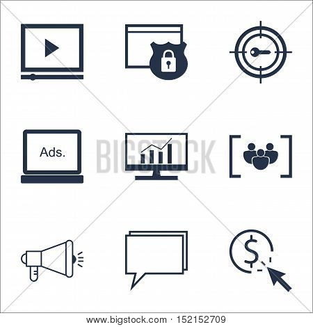 Set Of Marketing Icons On Digital Media, Market Research And Ppc Topics. Editable Vector Illustratio