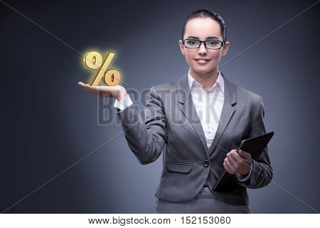 Businesswoman in high interest rates concept