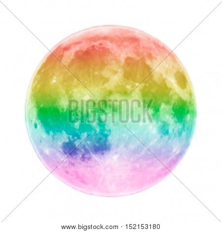 Full moon colored as rainbow isolated on white background. Alone concept.