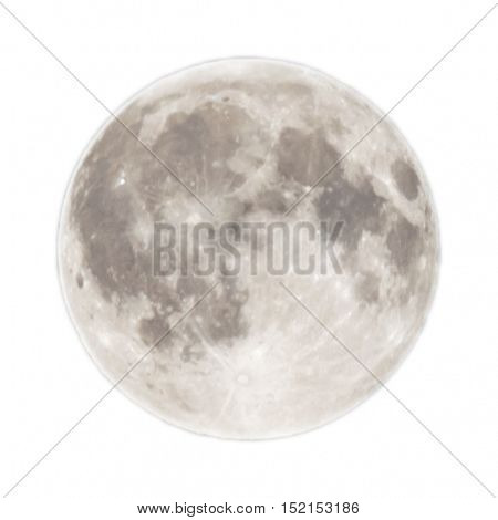 Full moon isolated on white background. Alone concept.