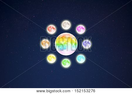 Circle of rainbow colored full moons on starry sky background. Full moon and stars.