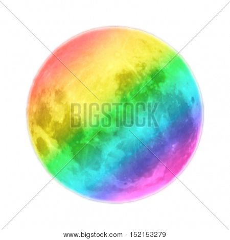 Full moon colored as diagonal rainbow isolated on white background. Tolerance concept.