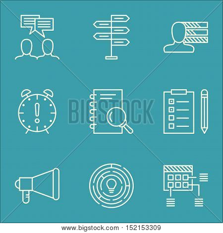 Set Of Project Management Icons On Personal Skills, Analysis And Innovation Topics. Editable Vector