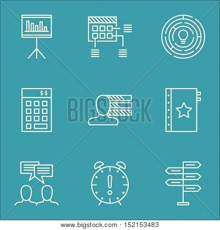 Set Of Project Management Icons On Presentation, Investment And Opportunity Topics. Editable Vector