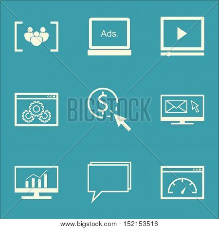 Set Of Advertising Icons On Website Performance, Video Player And Loading Speed Topics. Editable Vec