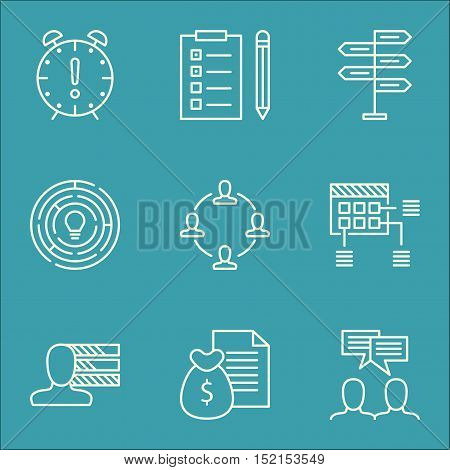Set Of Project Management Icons On Innovation, Personal Skills And Time Management Topics. Editable