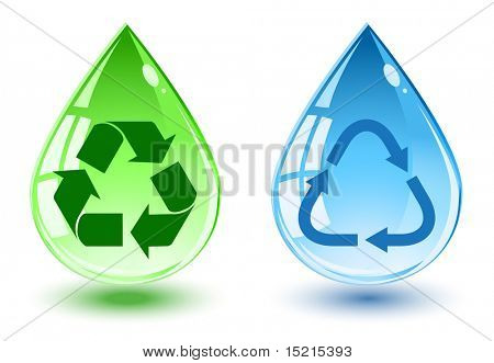 water drop with recycle symbol