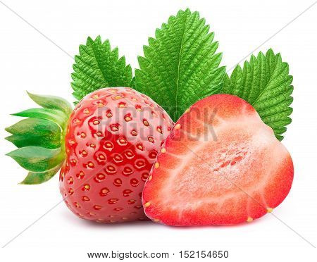 Perfectly retouched strawberry with sliced half and leaves isolated on white background whith clipping path