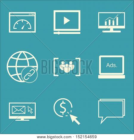 Set Of Seo Icons On Digital Media, Ppc And Conference Topics. Editable Vector Illustration. Includes