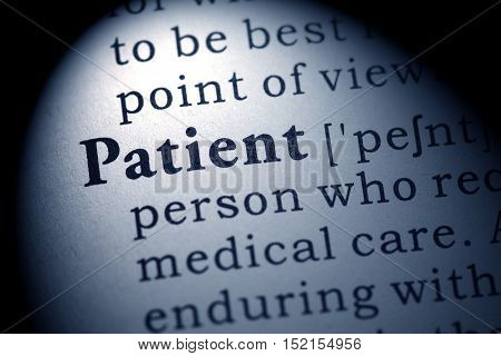 Fake Dictionary Dictionary definition of the word Patient.