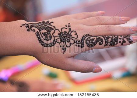 Festival Of Diwali henna tattoo scenes at Trafalgar Square 2016