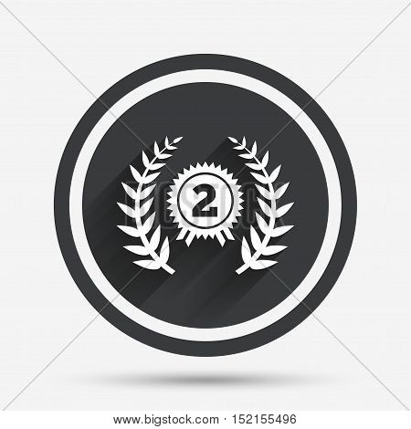 Second place award sign icon. Prize for winner symbol. Laurel Wreath. Circle flat button with shadow and border. Vector
