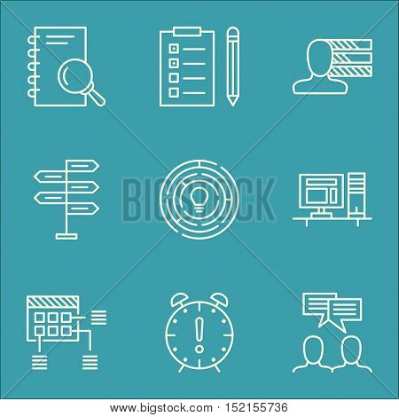 Set Of Project Management Icons On Time Management, Opportunity And Computer Topics. Editable Vector