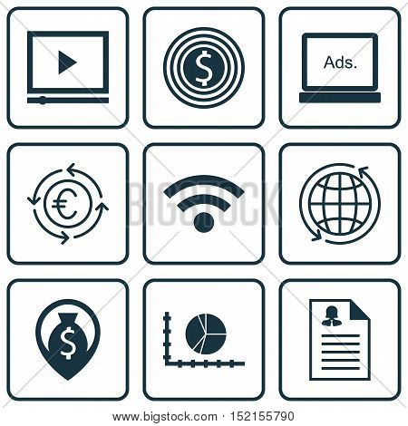 Set Of 9 Universal Editable Icons For Seo, Marketing And Airport Topics. Includes Icons Such As Curr